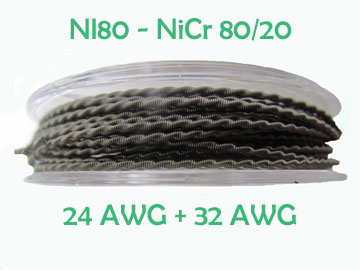 "NI80 (NiCr80/20) - ""Clapton Coil"" - Single Wrap - 0.5mm (24 AWG) Central Wire & 0.2mm (32 AWG) Wrap Wire"